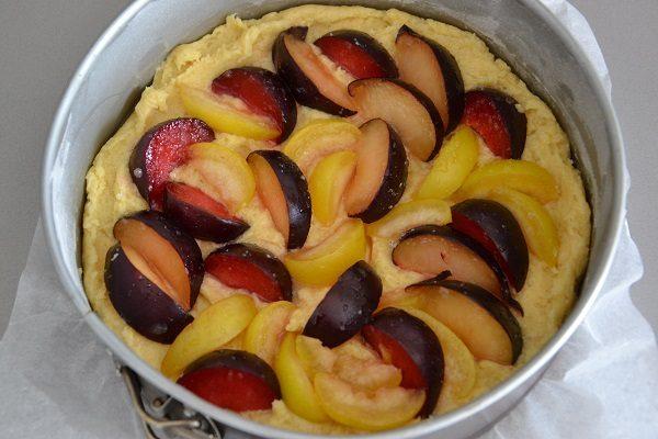 Aggiungete le susine sulla superficie della torta facendole affondare leggermente nell'impasto.