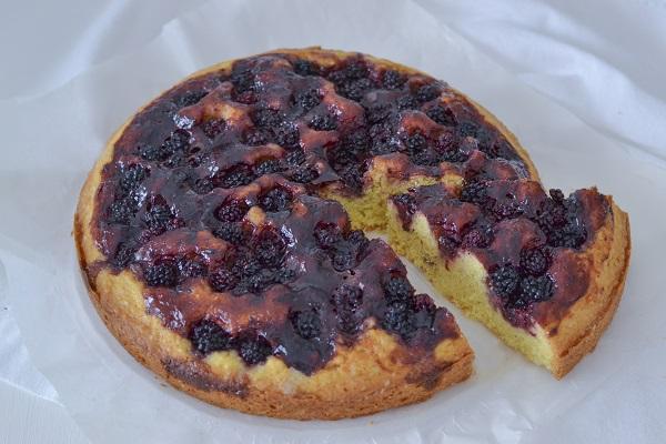 fetta di crostata morbida ai frutti di bosco con confettura e more