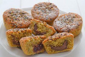 tortine al pistacchio con crema di nocciole e confettura